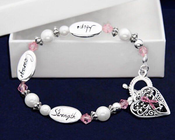 Heart Pink Ribbon Bracelet