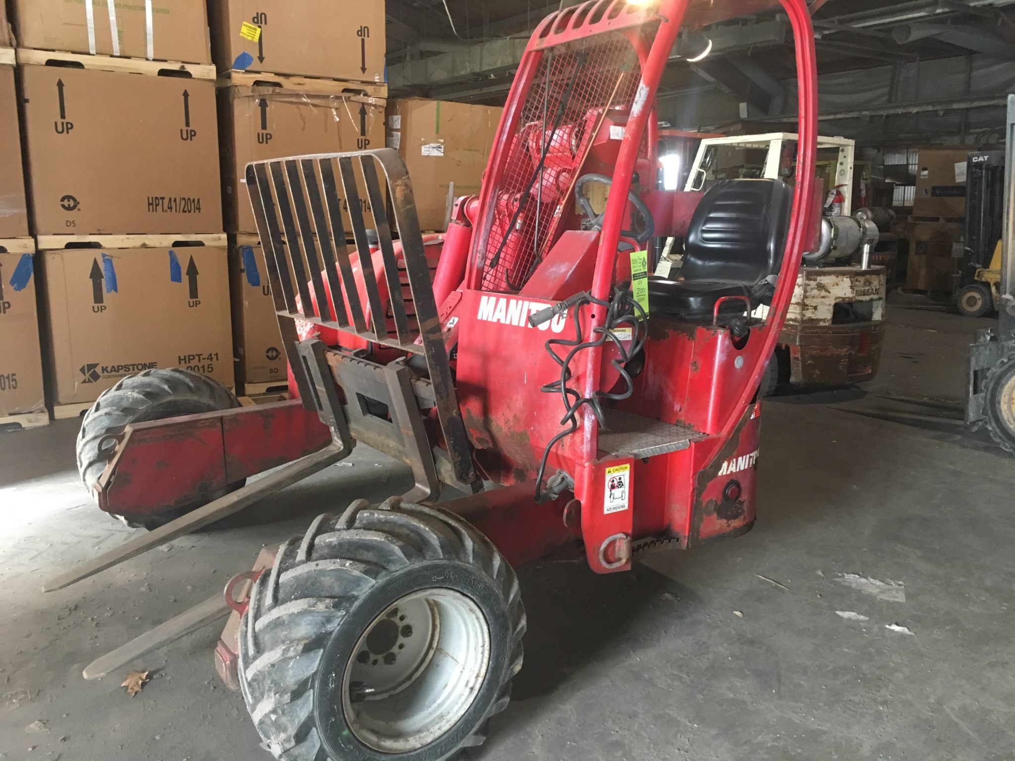"Manitou ""Mantransits"" all-terrain lifts, Chevy 7500 dump, Sterling 55' bucket truck, Clark 10k lift, NEW Skidloader attachments"