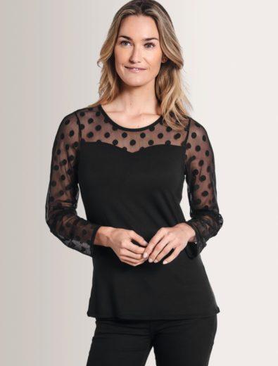 Heart Neckline Long Sleeve Shirt