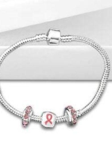 Pink Ribbon Bead Bracelet
