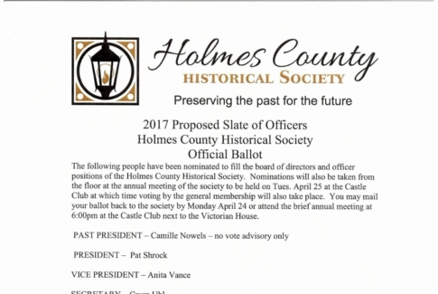 2017 Holmes Co. Historical Society - Annual Meeting