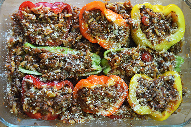 Bison stuffed peppers ground meat week 21 the starving chef blog dont worry if there is more meat than there is room for in the peppers just pile it around the peppers instead itll make for some perfect taco meat for forumfinder Images