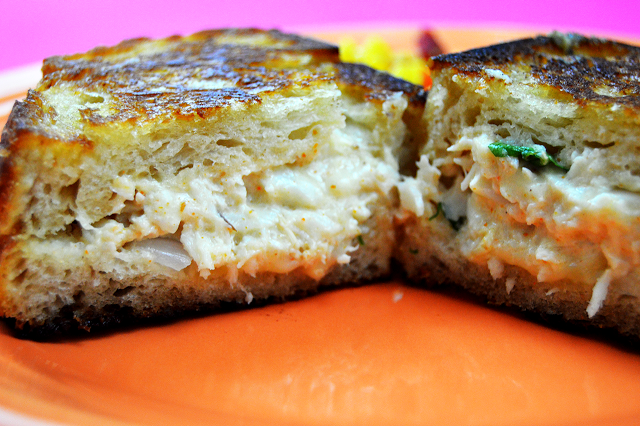 Grilled Cheese Crab Cake Sandwich