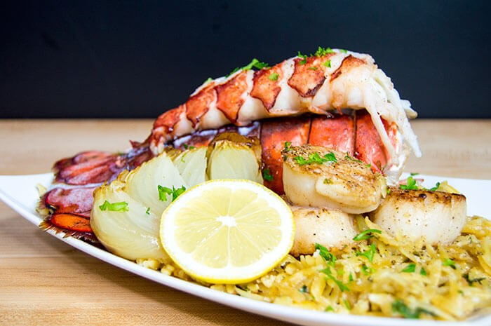 Lobster Tail With Scallops Lemon Orzo The Starving Chef