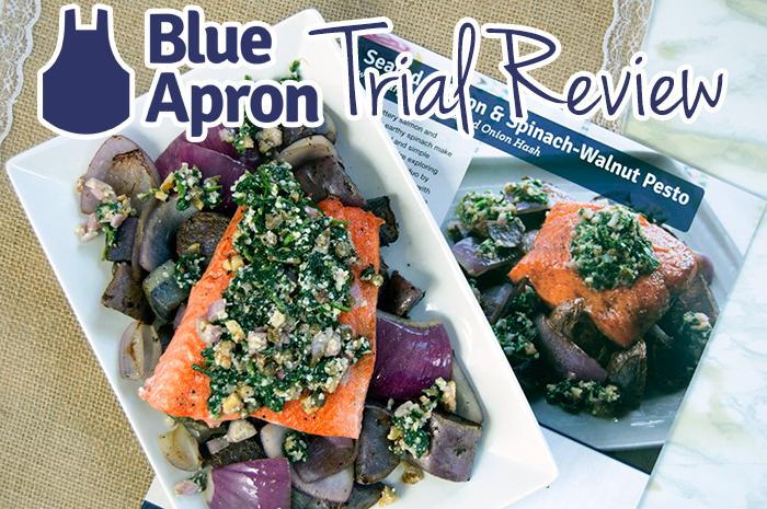 Blue Apron Trial: Seared Salmon & Spinach-Walnut Pesto