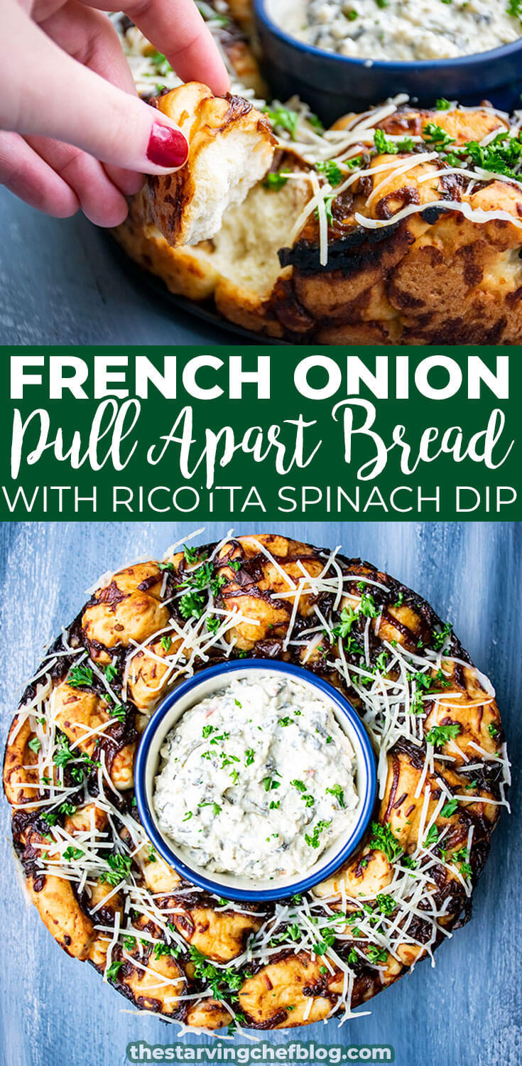 French Onion Monkey Bread with Ricotta Spinach Dip