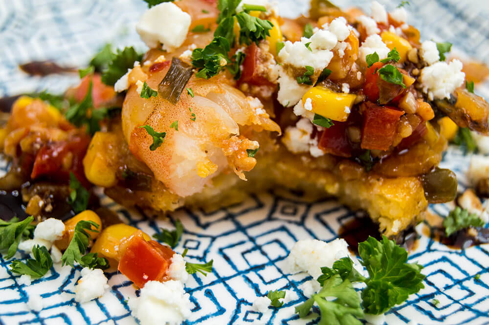 Sweet & Spicy Shrimp Polenta Cakes